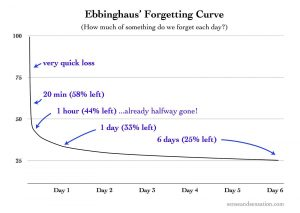 Ebbinghaus's forgetting curve - a exponential decay graph