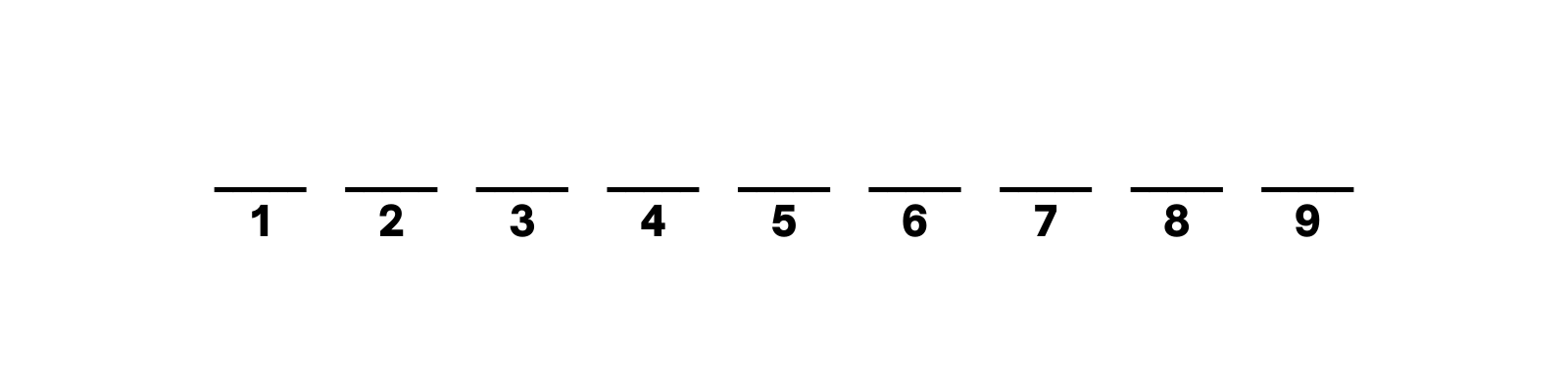 series of lines with numbered slots