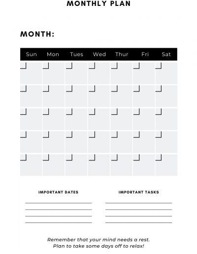 LSAT Study Planner Monthly Plan