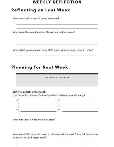 LSAT Study Planner Weekly Reflection